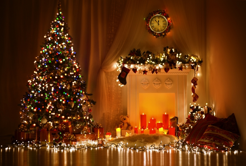 Christmas Room Interior Design, Xmas Tree Decorated By Lights Presents Gifts Toys, Candles And Garland Lighting Indoors Fireplace